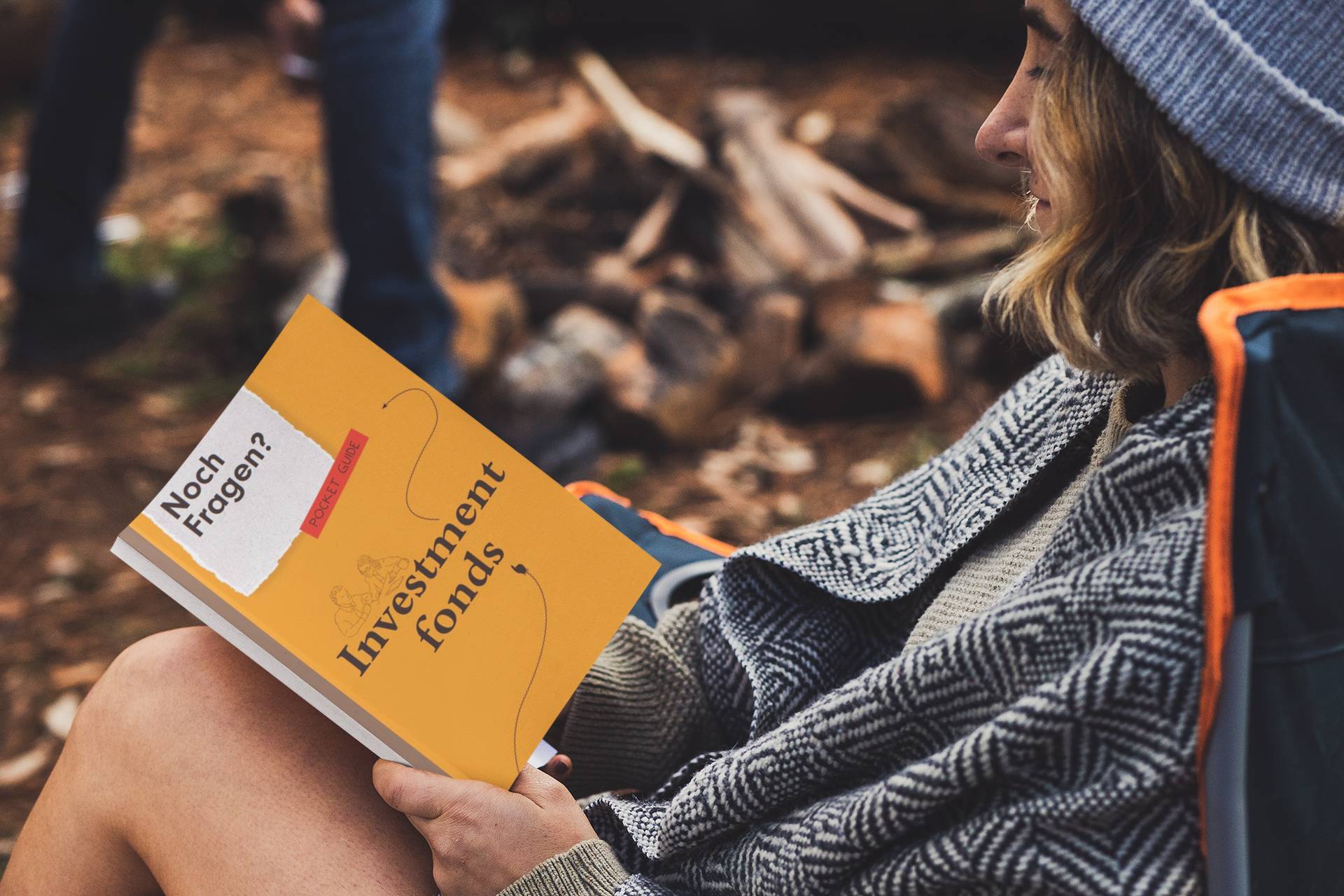 book mockup featuring a woman reading in a camping site 30506
